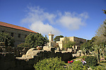 Israel, Jezreel valley. The garden in front of the Franciscan Church of the Transfiguration on Mount Tabor