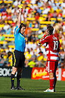 28 AUGUST 2010:  Referee Andrew Chapin show FC Dallas' Zach Loyd (19) a yellow card during MLS soccer game between FC Dallas vs Columbus Crew at Crew Stadium in Columbus, Ohio on August 28, 2010.