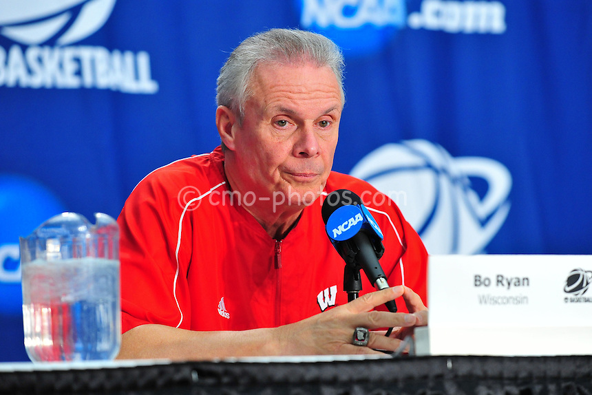 Mar 16, 2011; Tucson, AZ, USA; Wisconsin Badgers head coach Bo Ryan during a press conference on the day before the second round of the 2011 NCAA men's basketball tournament at the McKale Center.