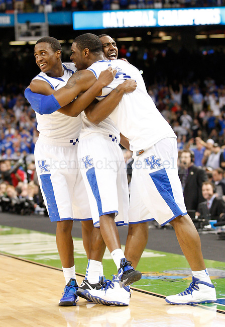 Doron Lamb, Marquis Teague and Terrence Jones after the championship game of the NCAA Tournament between the University of Kentucky and Kansas University, in the Superdome, on Monday, April 2, 2012 in New Orleans, La. Kentucky won 67-59 Photo by Latara Appleby | Staff