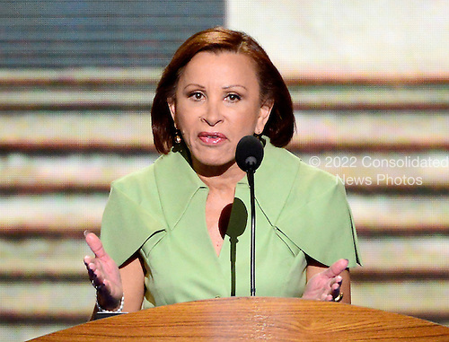 United States Representative Nydia M. Velazquez (Democrat of New York), a member of the Congressional Hispanic Caucus, makes remarks at the 2012 Democratic National Convention in Charlotte, North Carolina on Tuesday, September 4, 2012.  .Credit: Ron Sachs / CNP.(RESTRICTION: NO New York or New Jersey Newspapers or newspapers within a 75 mile radius of New York City)