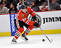 JEREMY MORIN,  of the Chicago Blackhawks in action  during the Blackhawks game against the Calgary Flames at the United Center in Chicago, IL.  The Chicago Blackhawks beat the Calgary Flames 4-2 in Chicago, Illinois on December 5, 2011....