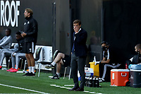 10th July 2020; Craven Cottage, London, England; English Championship Football, Fulham versus Cardiff City; Fulham Manager Scott Parker watches play closely