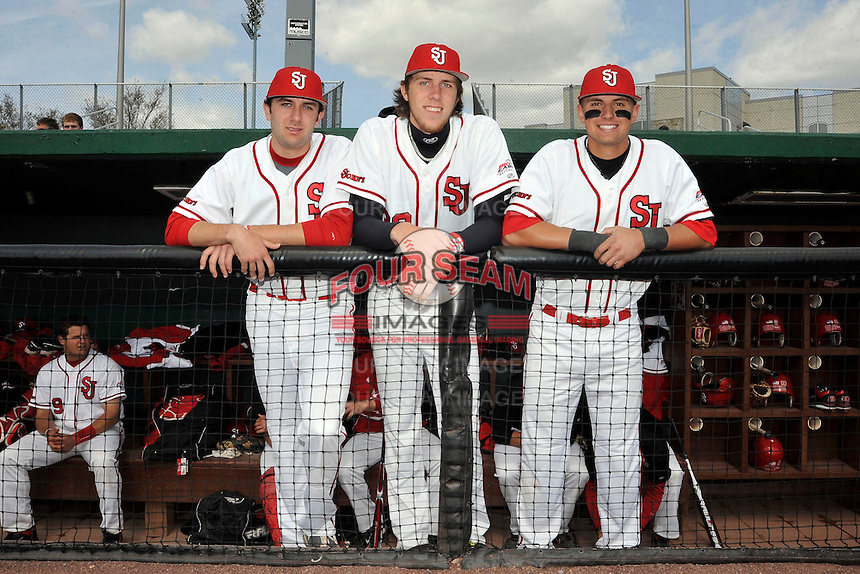 St.John's Red Storm outfielder Jeremy Baltz (18), pitcher Kyle Hansen (39), and  infielder Joe Panik (2) before the first game of a doubleheader against Notre Dame Fighting Irish at Jack Kaiser Stadium in Queens, New York;  April 21, 2011.  St. John's defeated Notre Dame 6-0.  Photo By Tomasso DeRosa/Four Seam Images