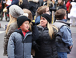 """Alex Johnston and Amber Johnston from The cast of TLC's """"7 Little Johnstons"""" filming promoting filming a visit to Times Square on January 4, 2019 in New York City."""