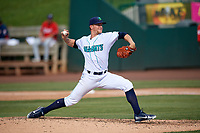 Lynchburg Hillcats starting pitcher Zach Plesac (30) delivers a pitch during the first game of a doubleheader against the Potomac Nationals on June 9, 2018 at Calvin Falwell Field in Lynchburg, Virginia.  Lynchburg defeated Potomac 5-3.  (Mike Janes/Four Seam Images)