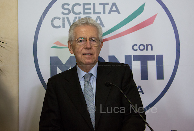 Between 22:40 and 23:00 - Sen. Mario Monti, current Prime Minister of Italy, Senator for life and as leader of Scelta Civica candidate to be Prime Minister again. <br /> <br /> Rome, 25/02/2013. Reportage covering the second day of the Italian General Election, including the campaign HQ's of the Rivoluzione Civile - Antonio Ingroia, the PDL (Popolo della Libert&aacute;) - Silvio Berlusconi, and the Scelta Civile - Mario Monti.