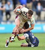 Charlie Foley of Yorkshire Carnegie is tackled in possession. Greene King IPA Championship match, between Yorkshire Carnegie and Doncaster Knights on September 17, 2017 at Headingley Stadium in Leeds, England. Photo by: Patrick Khachfe / Onside Images