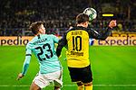 05.11.2019, Signal Iduna Park, Dortmund , GER, Champions League, Gruppenphase, Borussia Dortmund vs Inter Mailand, UEFA REGULATIONS PROHIBIT ANY USE OF PHOTOGRAPHS AS IMAGE SEQUENCES AND/OR QUASI-VIDEO<br /> <br /> im Bild | picture shows:<br /> Kopfball, Kopfballduell zwischen Nicolo Barella (Inter #23) und Mario Goetze (Borussia Dortmund #10),<br /> <br /> Foto © nordphoto / Rauch
