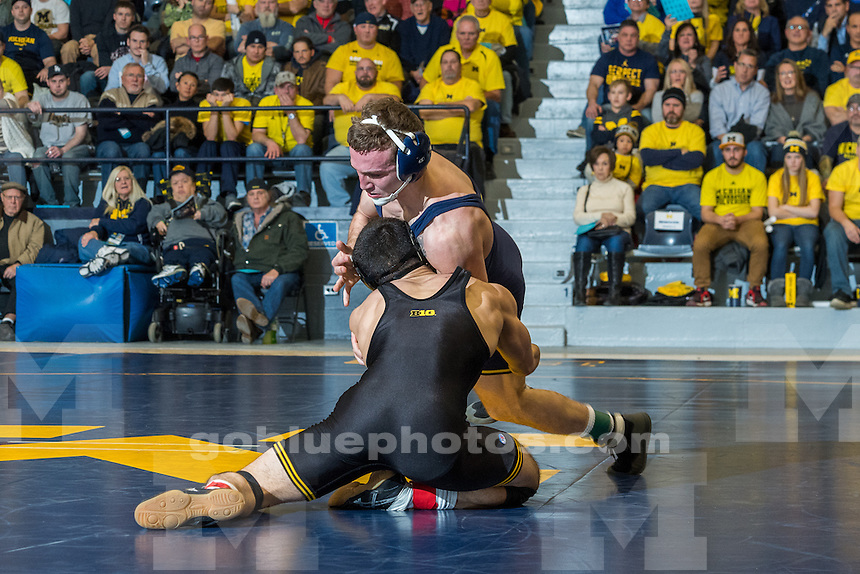The University of Michigan wrestling team falls to Iowa, 31-7, at Cliff Keen Arena in Ann Arbor, MI. on January 6, 2017.