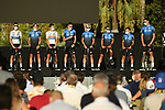 NTT Pro Cycling on stage at the team presentation before the Tour de France 2020, Nice, France. 27th August 2020.<br /> Picture: ASO/Alex Broadway | Cyclefile<br /> All photos usage must carry mandatory copyright credit (© Cyclefile | ASO/Alex Broadway)