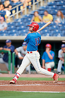 Clearwater Threshers center fielder Adam Haseley (17) at bat during a game against the Fort Myers Miracle on May 31, 2018 at Spectrum Field in Clearwater, Florida.  Clearwater defeated Fort Myers 5-1.  (Mike Janes/Four Seam Images)