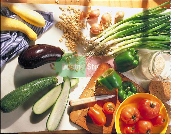 preparing fresh vegetables for cooking
