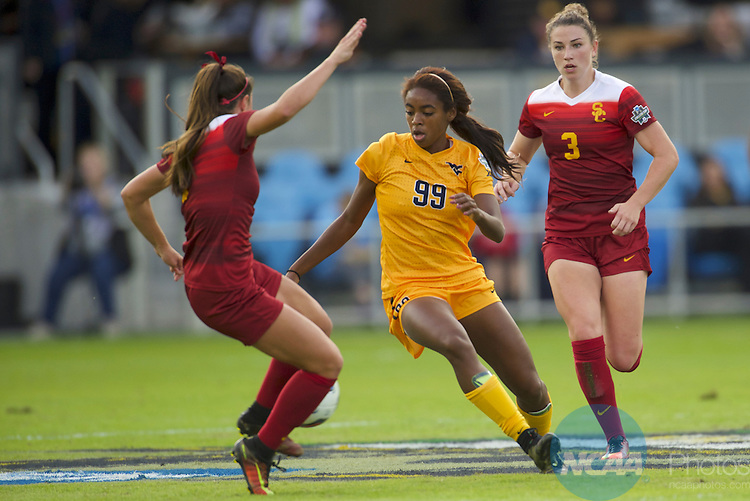 SAN JOSE, CA - DECEMBER 04:  Sh'nia Gordon (99) of West Virginia University races past the University of Southern California defense during the Division I Women's Soccer Championship held at Avaya Stadium on December 04, 2016 in San Jose, California.  USC defeated West Virginia 3-1 for the national title. (Photo by Jamie Schwaberow/NCAA Photos via Getty Images)