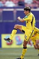 The Crew's Ross Paule watches his penalty kick find the back of the net. The MetroStars and the Columbus Crew played to a 1-1 tie at Giant's Stadium, East Rutherford, NJ on Sunday August 29, 2004.