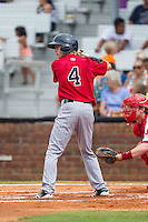 Will Hurt (4) of the Elizabethton Twins at bat against the Johnson City Cardinals at Cardinal Park on July 27, 2014 in Johnson City, Tennessee.  The game was suspended in the top of the 5th inning with the Twins leading the Cardinals 7-6.  (Brian Westerholt/Four Seam Images)