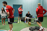 Pictured L-R: Jordi Amat, Chico Flires, sports analyst and David Cornell.  Thursday 03 July 2014<br />