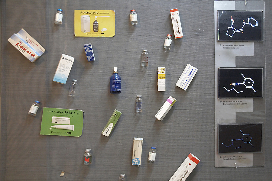 The coca museum in La Paz, Bolivia.  Display of synthetic cocaine analogs.
