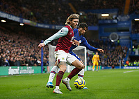 11th January 2020; Stamford Bridge, London, England; English Premier League Football, Chelsea versus Burnley; Jeff Hendrick of Burnley is marked by Reece James of Chelsea - Strictly Editorial Use Only. No use with unauthorized audio, video, data, fixture lists, club/league logos or 'live' services. Online in-match use limited to 120 images, no video emulation. No use in betting, games or single club/league/player publications