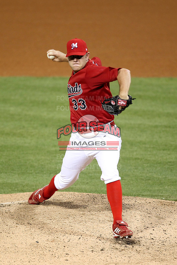 Memphis Redbirds pitcher P.J. Walters #33 delivers a pitch during a game versus the Round Rock Express at Autozone Park on April 29, 2011 in Memphis, Tennessee.  Round Rock defeated Memphis by the score of 5-4 in 13 innings.  Photo By Mike Janes/Four Seam Images
