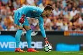 1st October 2017, Mestalla, Valencia, Spain; La Liga football, Valencia CF versus Athletic Bilbao; Neto goalkeeper of Valencia CF sets the ball in the box for a goal kick
