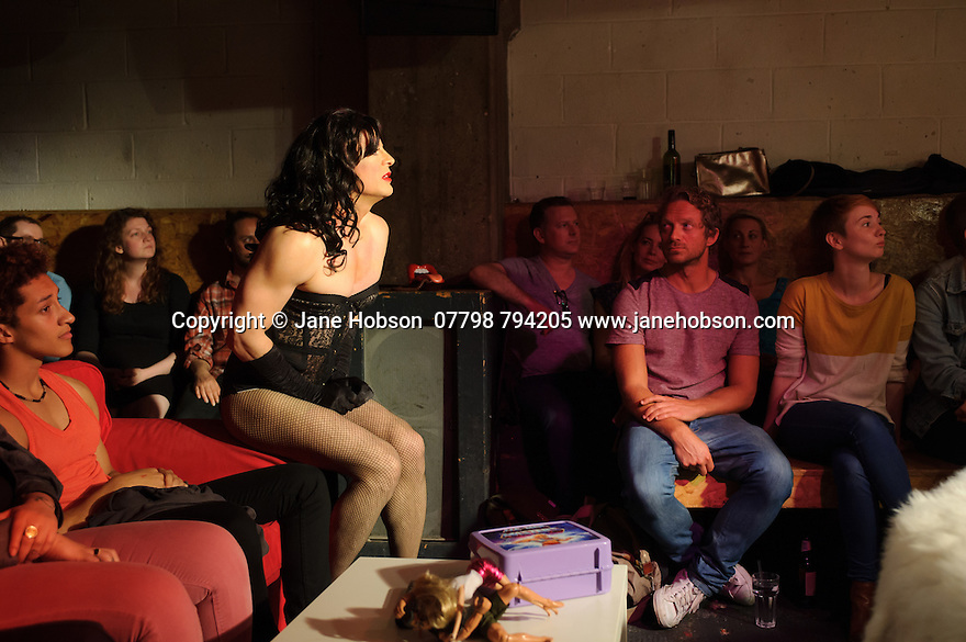 London, UK. 21.06.2016.  The Telegraph and Team Angelica present SLAP, at Concrete, Shoreditch. SLAP is written by Alexis Gregory, directed by Rikki Beadle-Blair and stars Nigel Fairs (Johnny), Frankie Fitzgerald (Danny) and Alexis Gregory (Dominique). Photograph © Jane Hobson.