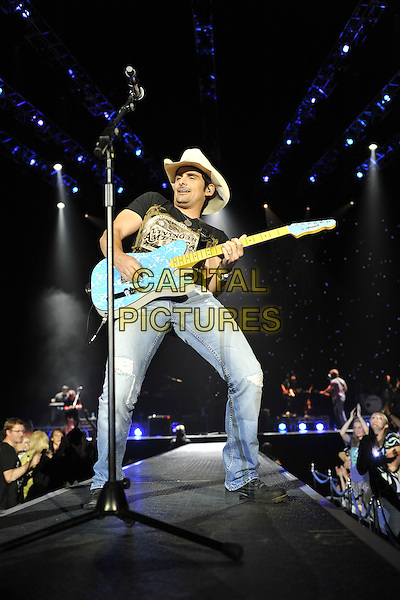Brad Paisley .Performing live at the O2 Arena, London, England..August 17th, 2011.stage concert live gig performance music full length jeans denim black t-shirt cowboy hat stetson guitar    .CAP/MAR.© Martin Harris/Capital Pictures.