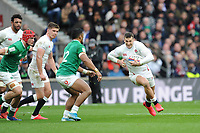 Jonny May of England looks to go round Bundee Aki of Ireland during the Guinness Six Nations match between England and Ireland at Twickenham Stadium on Sunday 23rd February 2020 (Photo by Rob Munro/Stewart Communications)
