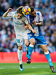 Luka Modric of Real Madrid fights for the ball with Guilherme dos Santos Torres of RC Deportivo La Coruna during the La Liga 2017-18 match between Real Madrid and RC Deportivo La Coruna at Santiago Bernabeu Stadium on January 21 2018 in Madrid, Spain. Photo by Diego Gonzalez / Power Sport Images