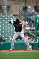 Charlotte Knights Alcides Escobar (2) bats during an International League game against the Rochester Red Wings on June 16, 2019 at Frontier Field in Rochester, New York.  Rochester defeated Charlotte 11-5 in the first game of a doubleheader that was a continuation of a game postponed the day prior due to inclement weather.  (Mike Janes/Four Seam Images)