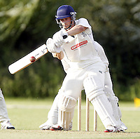 Ian Harris bats for Harrow during the Middlesex County Cricket League Division Two game between Harrow St Mary's and Shepherds Bush at<br /> Harrow on Sat July 19, 2014