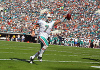 Quarterback Chad Henne scores a touchdown as his Miami Dolphins beat the Jacksonville Jaguars 14-10 at Jacksonville Municipal Stadium in Jacksonville, FL, December 13, 2009.  (Photo by Brian Cleary/www.bcpix.com)