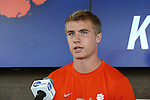 12 December 2015: Clemson's Kyle Fisher. The NCAA held a press conference at Three Points at the Sporting Kansas City offices one day before the Clemson University Tigers play the Stanford University Cardinal in a 2015 NCAA Division I Men's College Cup championship match.