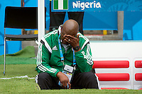 Nigeria manager Stephen Keshi looks dejected