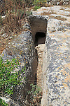 Water channel at medieval cave dwellings homes Ghar il-Kbir, Dingli, Malta