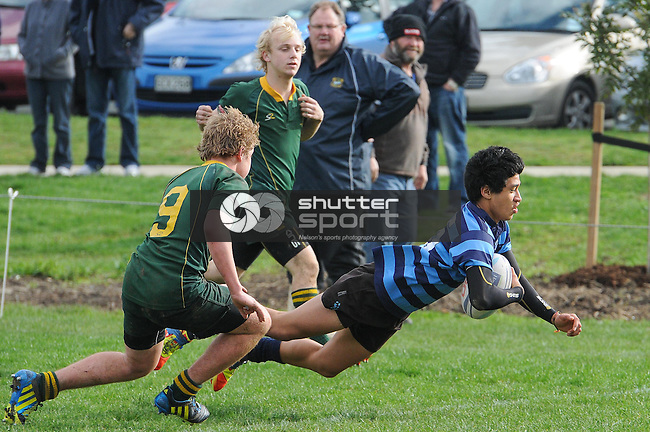 J. Tui scores for Nelson. Nelson College v Waimea College u15 Final. Tahuna, Nelson, 11/08/12. Photo: Shaun Bowie / Shuttersport