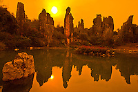 Spires at Little Stone Forest   Stoen Forest National Geopark.Peoples Republic of China.Yunnan Province.Limestone pinnacles.UNESCO World Heritage Site