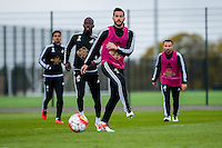 Wednesday  27 April 2016<br /> Pictured: Jordi Amat of Swansea in action during training<br /> Re: Swansea City Training Session at the Fairwood Ground, Swansea, Wales, UK