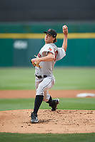 Indianapolis Indians starting pitcher Tyler Glasnow (18) delivers a warmup a pitch during a game against the Buffalo Bisons on August 17, 2017 at Coca-Cola Field in Buffalo, New York.  Buffalo defeated Indianapolis 4-1.  (Mike Janes/Four Seam Images)