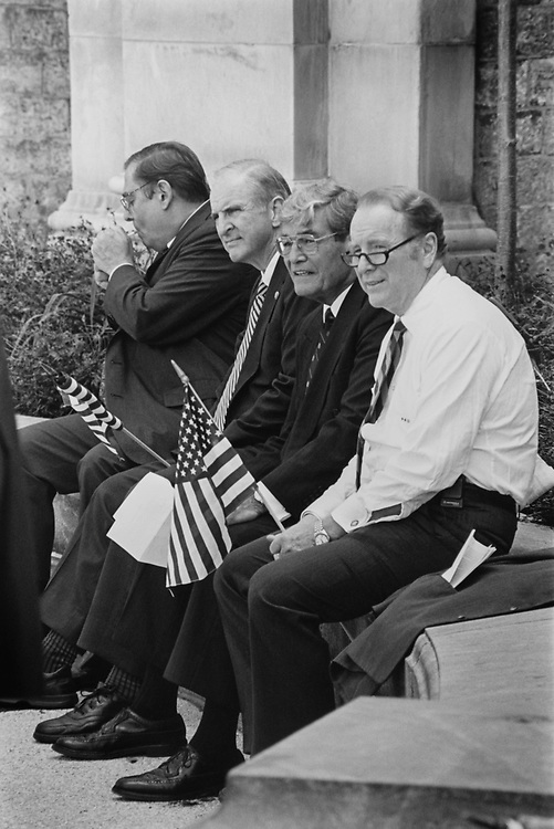 Rep. Bill Emerson, R-Mo., along with Rep. Sam Johnson, R-Tex., Rep. Phil Crane, R-Ill., and Rep. Bob Dornan, R-Calif., behind the scene and in the shade as at Contract with America event taking place on Sep. 27, 1994. (Photo by Maureen Keating/CQ Roll Call via Getty Images)