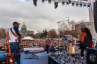 Wyclef Jean performing, 420 Cannabis Culture Music Festival, Civic Center Park, Downtown Denver, Colorado USA. This was the first 4/20 celebration since recreational pot became legal in Colorado January 1, 2014. A crowd of up to 80,000 people attended the event.
