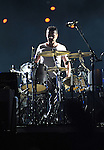 PASADENA, CA. - October 25: Drummer Larry Mullen, Jr. performs in concert during their 360º Tour at the Rose Bowl on October 25, 2009 in Pasadena, California.