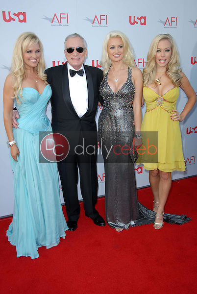 Bridget Marquardt and Hugh Hefner with Holly Madison and Kendra Wilkinson<br />at the 36th AFI Lifetime Achievement Award Tribute To Warren Beatty. Kodak Theatre, Hollywood, CA. 06-12-08<br />Dave Edwards/DailyCeleb.com 818-249-4998