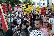 Washington, DC - July 11, 2014: Hundreds of pro-Palestinian demonstrators gather at the gates of the Israeli Embassy in the District of Columbia, July 11, 2014, to protest Israeli strikes on Gaza.  (Photo by Don Baxter/Media Images International)