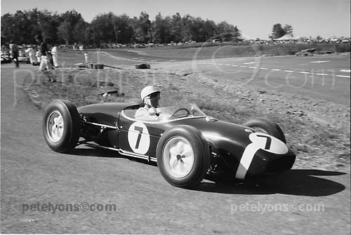 Stirling Moss, Lotus 18, at Watkins Glen Formula Libre race 1960, precurser to following year's inaugural US Grand Prix