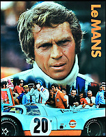 BNPS.co.uk (01202 558833)<br /> Pic: CinemaCenterFilms<br /> <br /> A film poster for Le Mans which features the Porsche.<br /> <br /> The iconic Porsche from Steve McQueen's legendary film Le Mans is expected to race away at auction for &pound;12million. <br /> <br /> The stunning 917K was used as a test car for the 1970 24 Hours of Le Mans, which Porsche won, before gracing the silver screen a year later. <br /> <br /> Following its brush with fame the famous motor was left to languish in a barn for 25 years before being rediscovered in 2001, when it underwent an extensive restoration. <br /> <br /> The history-steeped car will be sold by a European collector through Gooding &amp; Company auctioneer in Pebble Beach, California, on August 18.