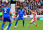 4th November 2017, bet365 Stadium, Stoke-on-Trent, England; EPL Premier League football, Stoke City versus Leicester City; Wilfred Ndidi of Leicester City moves the ball forward