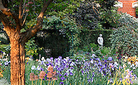 The Jardin des Iris et des Plantes Vivaces (Iris and Perrenials garden), created in 1964 and located in the Jardin des Plantes, Paris, 5th arrondissement, France. In the background, the statue called Nymphe a la Cruche, created by Hippolyte-Isidore Brion in 1838 can be seen. Founded in 1626 by Guy de La Brosse, Louis XIII's physician, the Jardin des Plantes, originally known as the Jardin du Roi, opened to the public in 1640. It became the Museum National d'Histoire Naturelle in 1793 during the French Revolution. Picture by Manuel Cohen