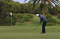 Robin Sciot Siegrist (FRA) on the 15th green during Round 4 of the Challenge Tour Grand Final 2019 at Club de Golf Alcanada, Port d'Alcúdia, Mallorca, Spain on Sunday 10th November 2019.<br /> Picture:  Thos Caffrey / Golffile<br /> <br /> All photo usage must carry mandatory copyright credit (© Golffile | Thos Caffrey)