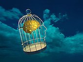 Brain in cage floating in sky